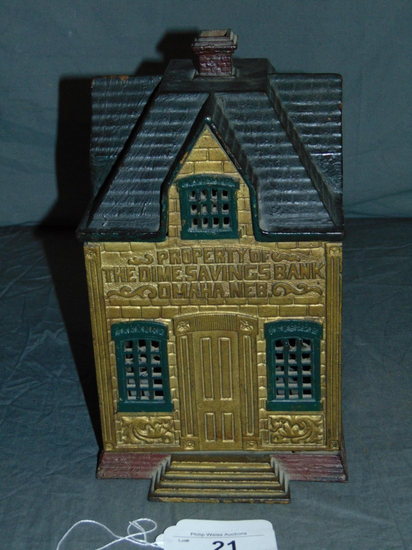Rare. Cast Iron Building Bank.