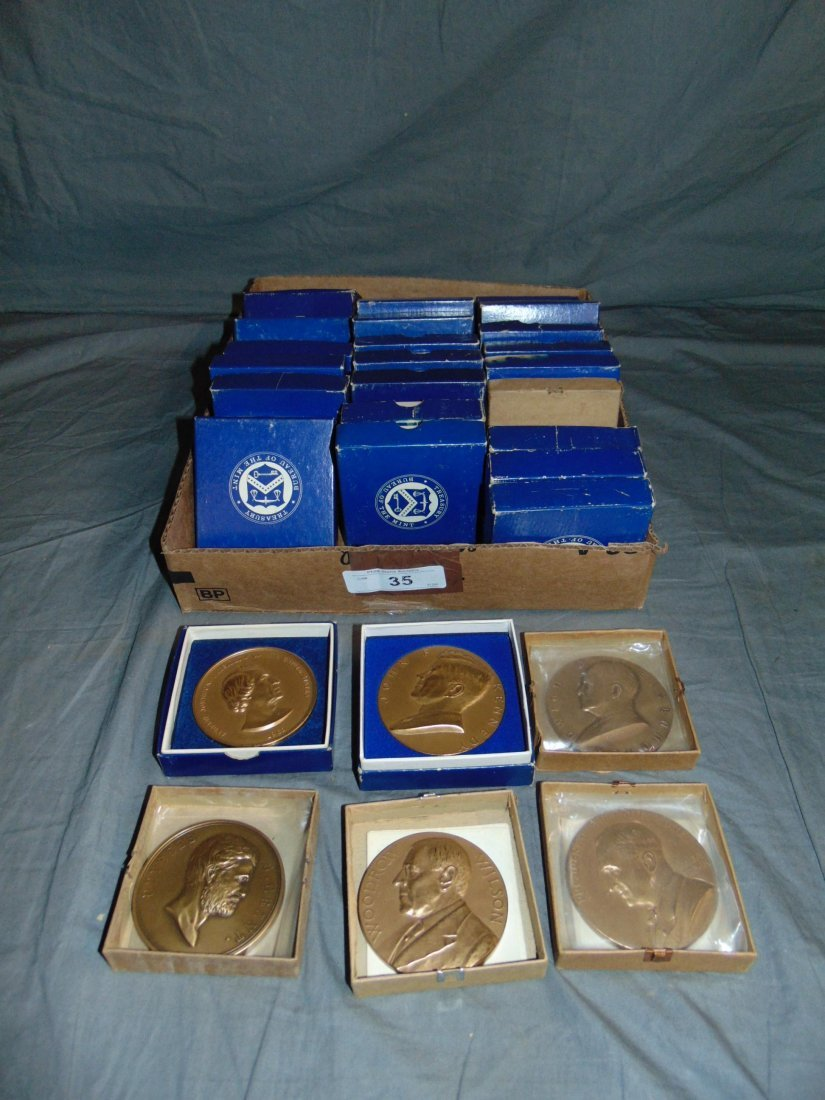 Collection of Bronze Presidential Medallions.