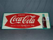Drink Coca Cola Fishtail Tin Advertising Sign