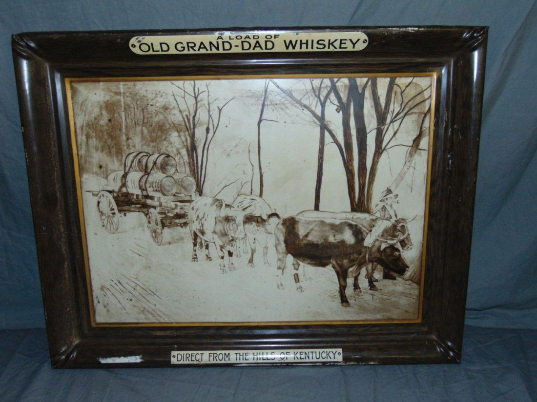 Old Grand-Dad Whiskey Self Framed Tin Sign