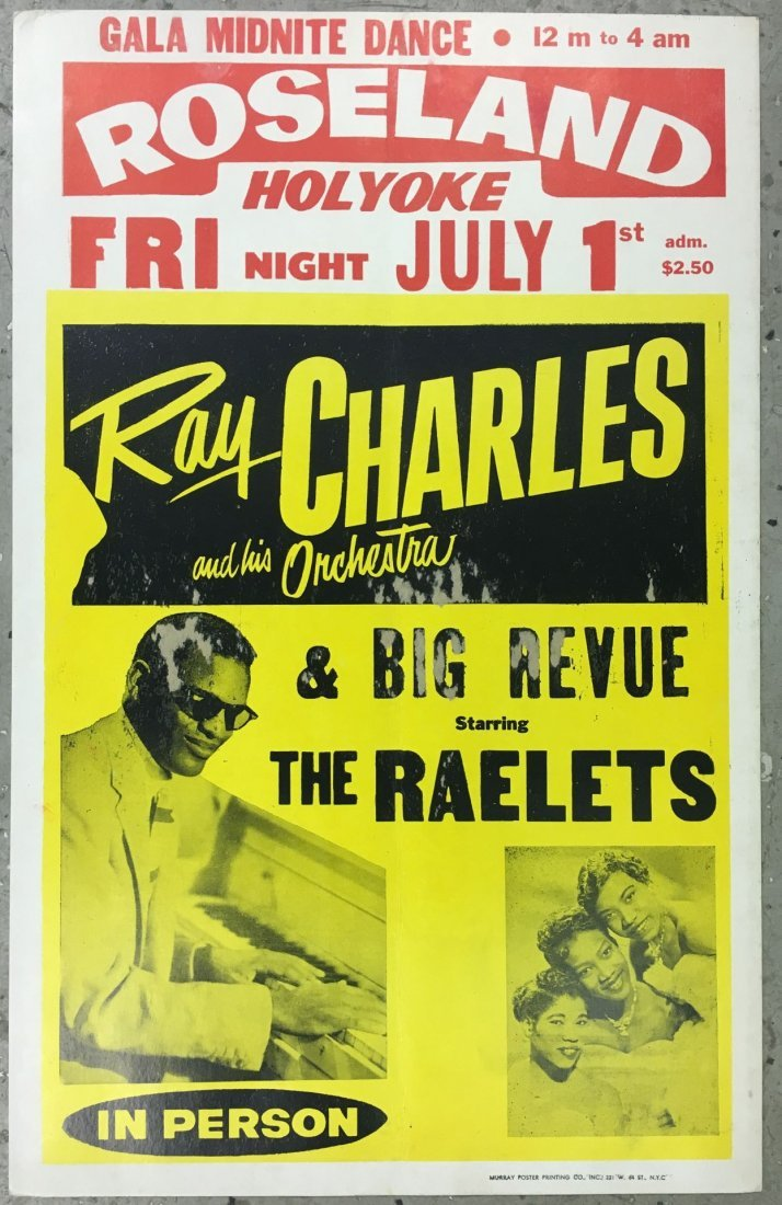 1960's Ray Charles Roseland Cardboard Poster