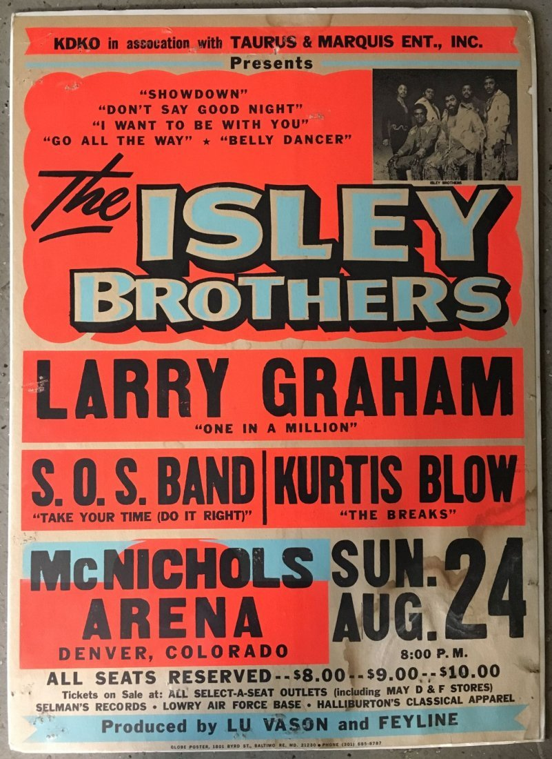1980 Isley Brothers, Kurtis Blow Concert Poster
