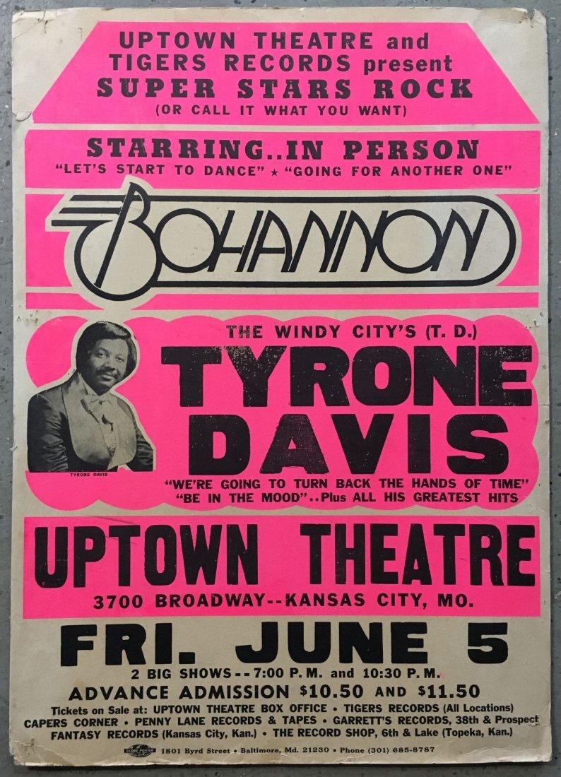 1970's Tyrone Davis & Bohannon R&B Concert Poster