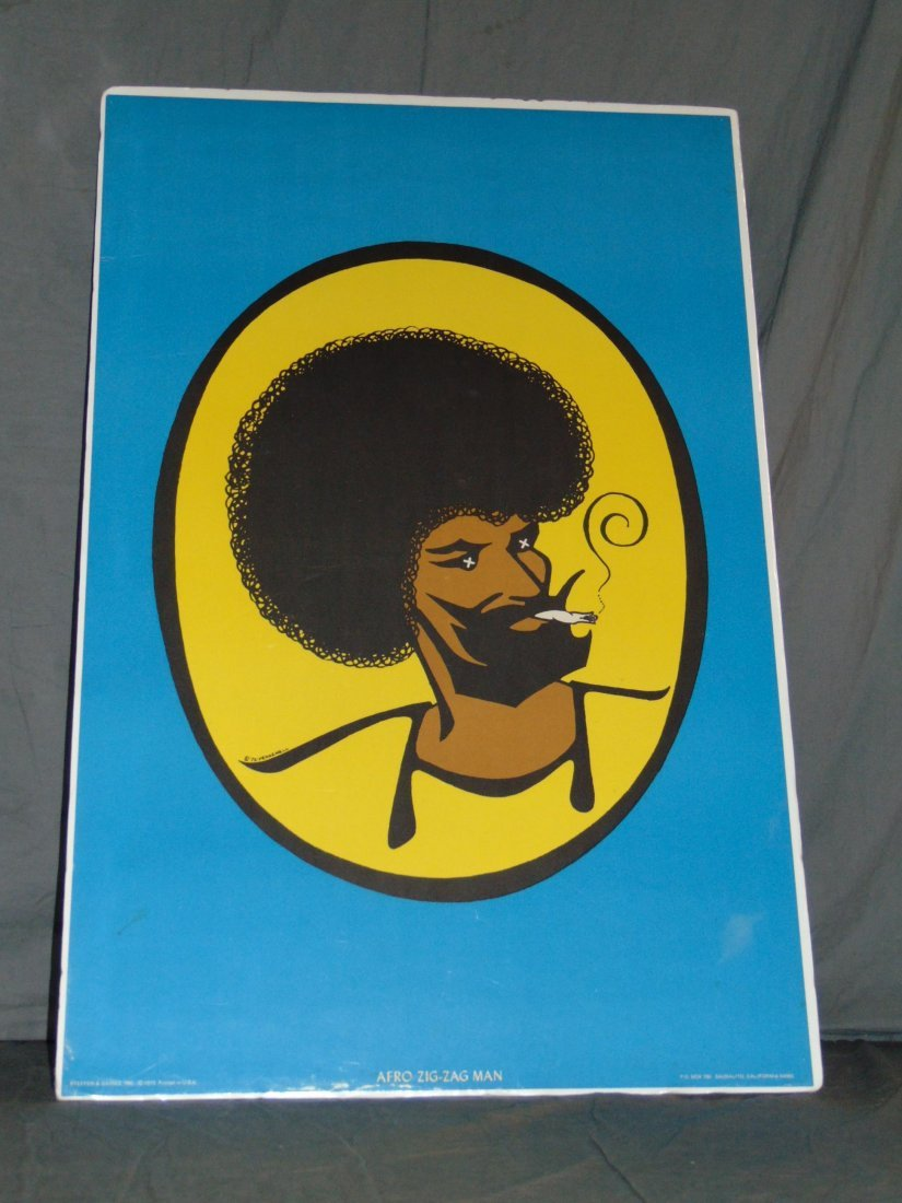 1973 Afro Zig Zag Man Blacklight Poster, Pennewell