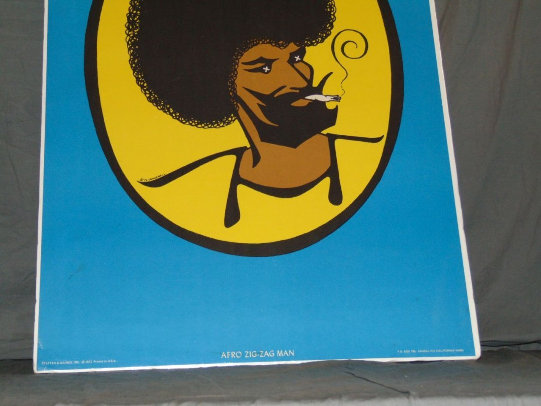 1973 Afro Zig Zag Man Blacklight Poster, Pennewell - 3
