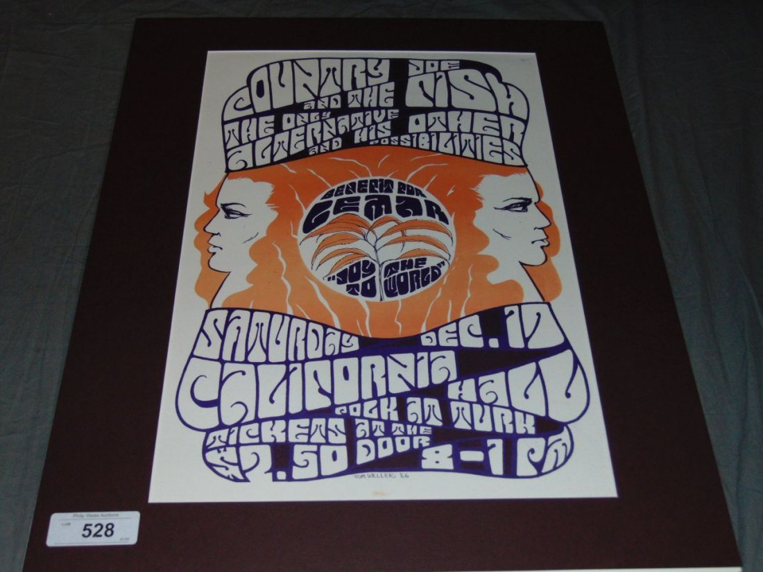 1966 Country Joe LEMAR Benefit Poster, 1st Print