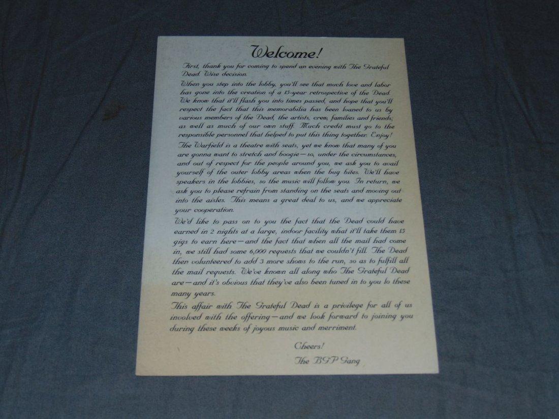 Grateful Dead Warfield Theater Welcome Handbill - 2