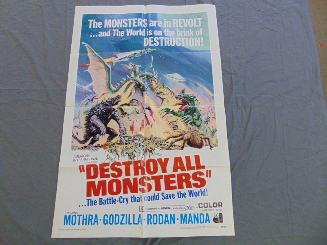 1969 Destroy All Monsters One Sheet Poster
