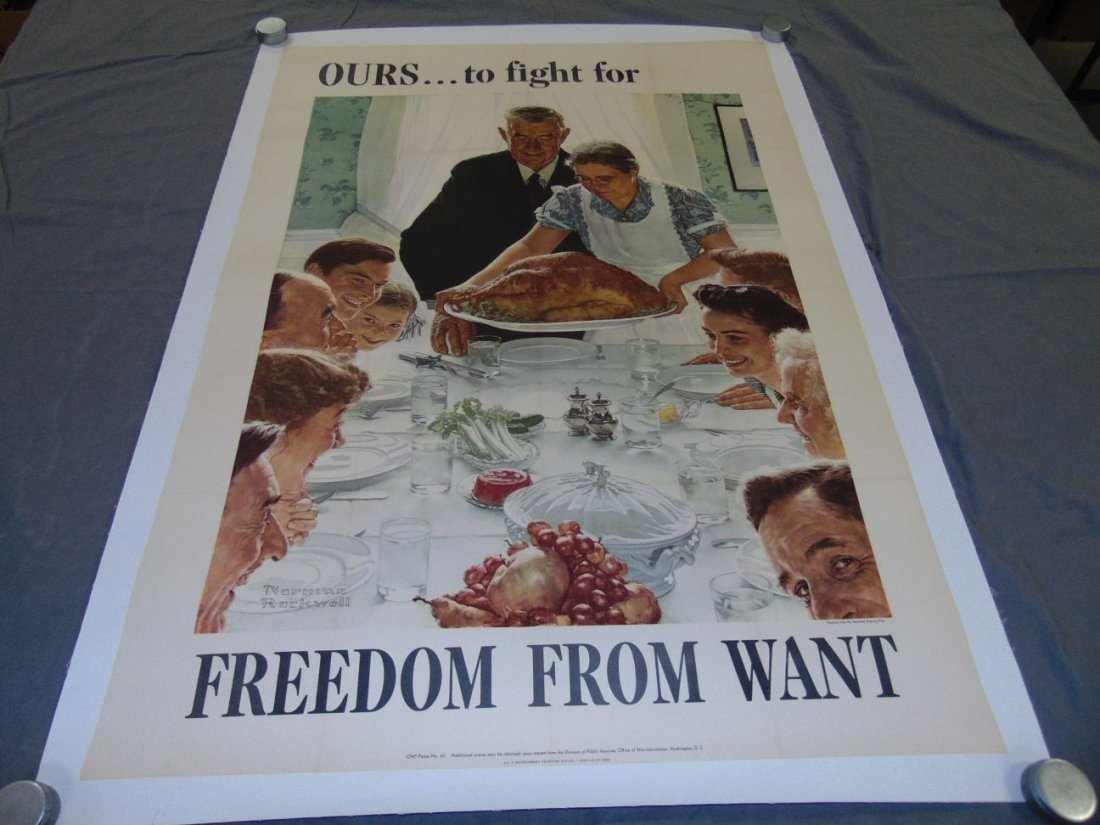 WW2 Norman Rockwell Freedom From Want Poster