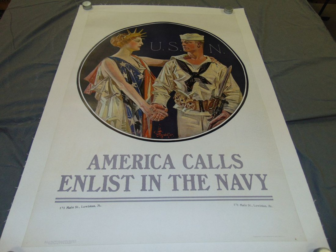 WW1 Enlist in the Navy Poster, Leyendecker