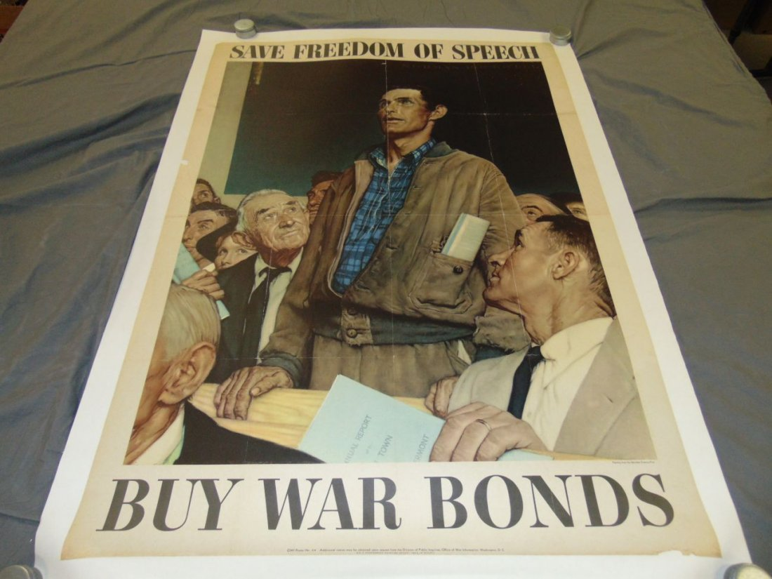 WW2 Norman Rockwell Save Freedom of Speech Poster
