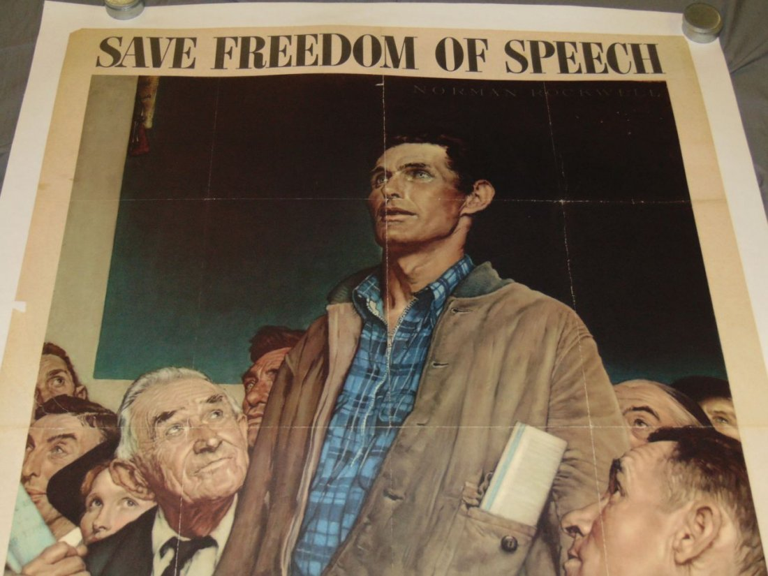 WW2 Norman Rockwell Save Freedom of Speech Poster - 2