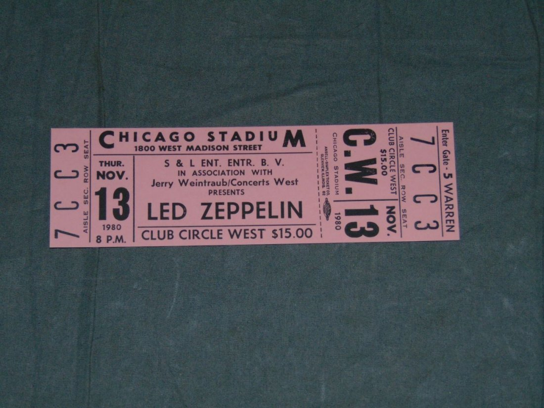 Led Zeppelin Unused Concert Ticket
