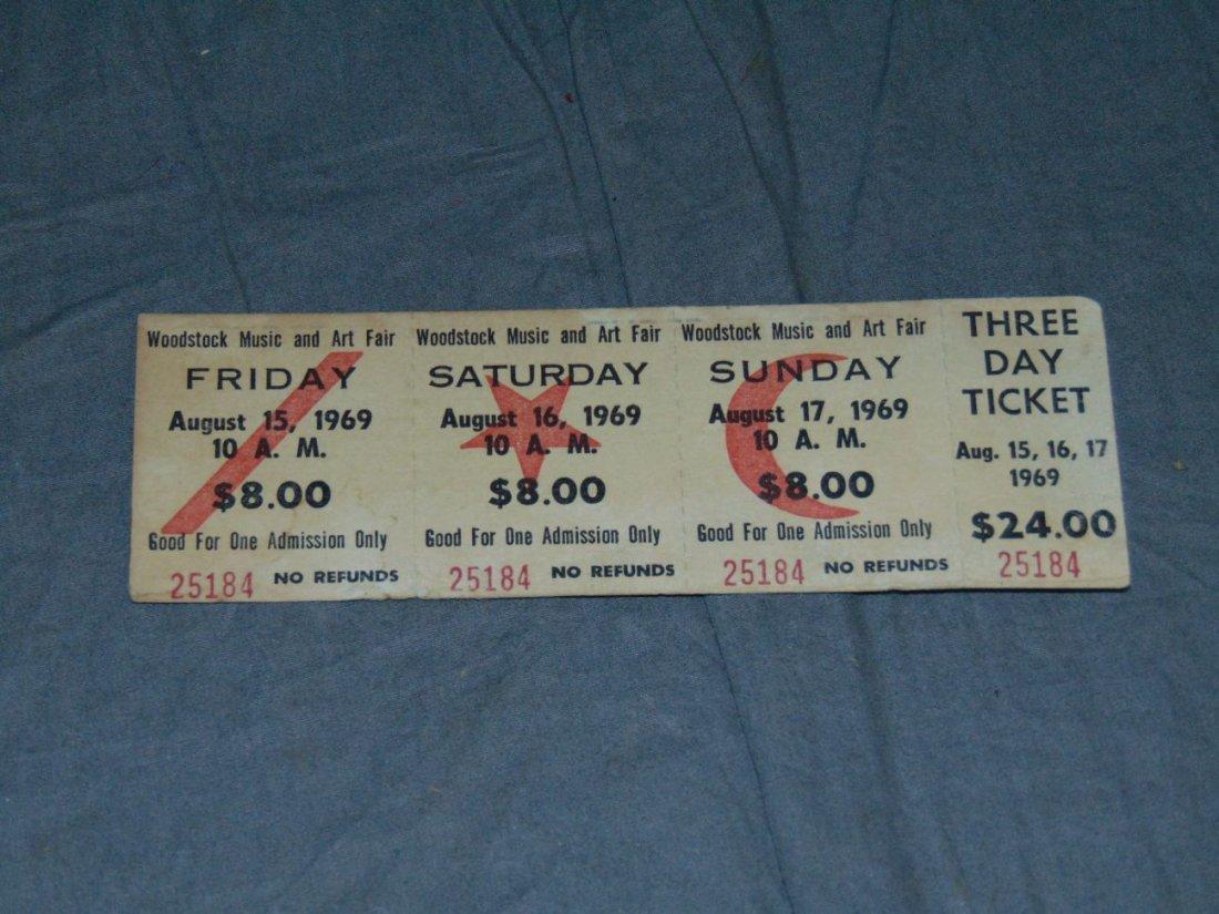 WOODSTOCK Unused 3-Day Concert Ticket