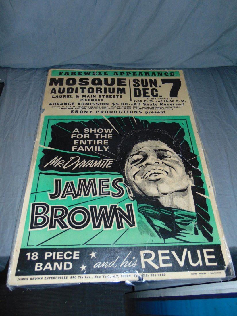 James Brown 1968 Cardboard Concert Poster