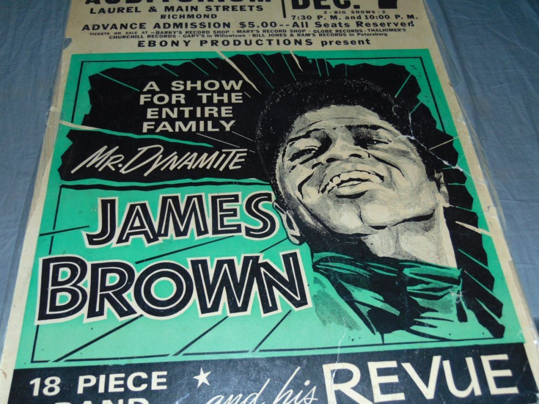 James Brown 1968 Cardboard Concert Poster - 4