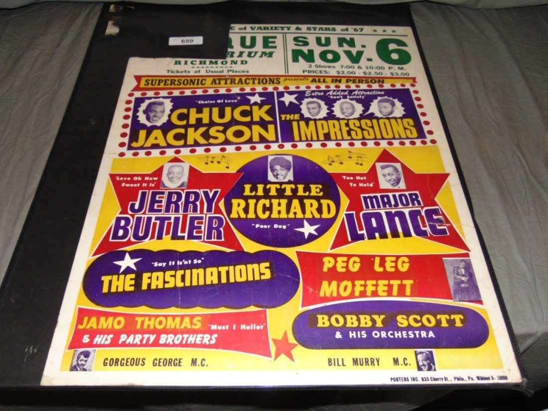 1967 R&B Show Cardboard Concert Poster