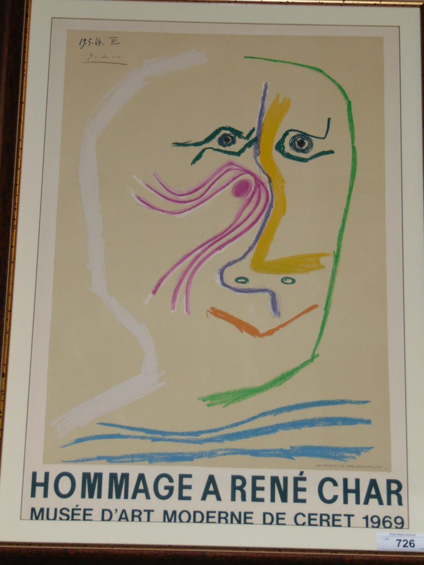 Pablo Picasso, Hommage Rene Char Lithograph