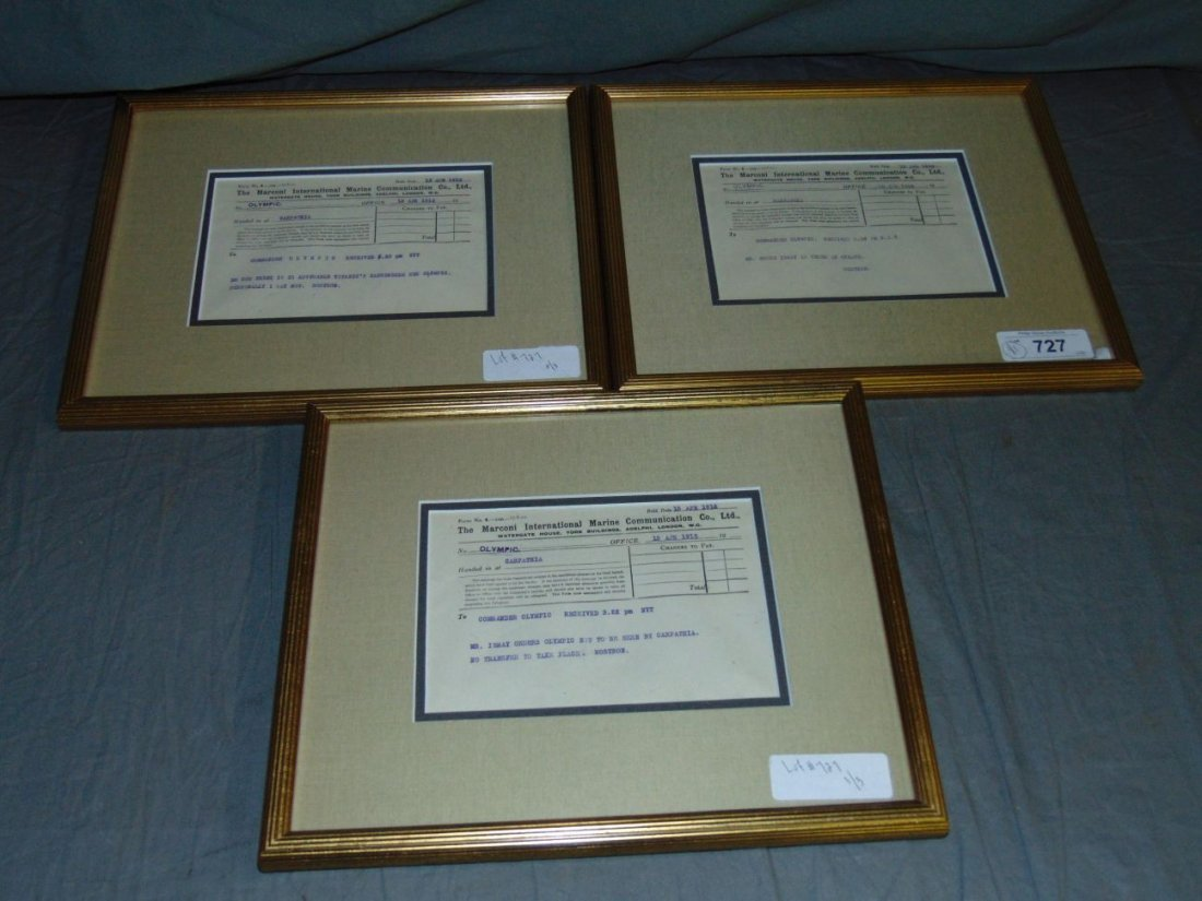 Lot of 3 Titanic Disaster Marconi Messages