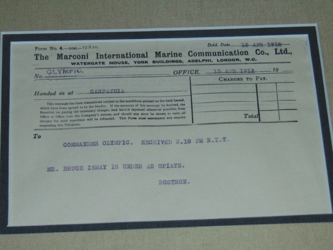 Lot of 3 Titanic Disaster Marconi Messages - 2