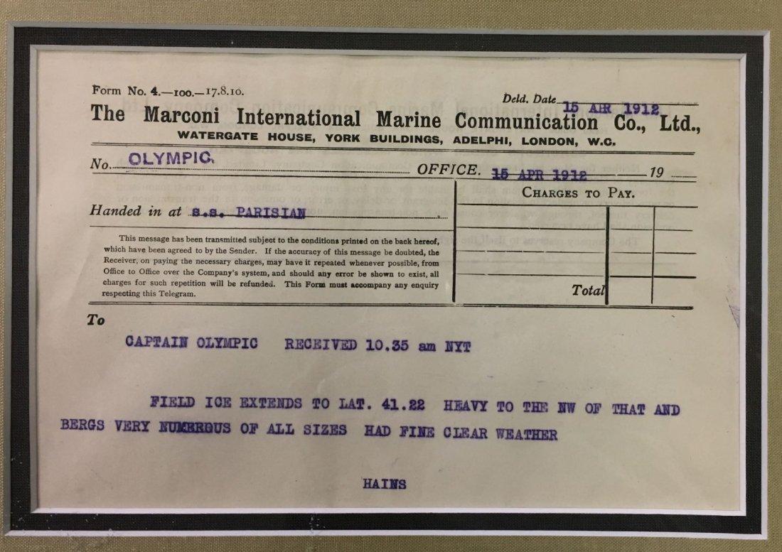 1912 Titanic Disaster Marconi Message - 2
