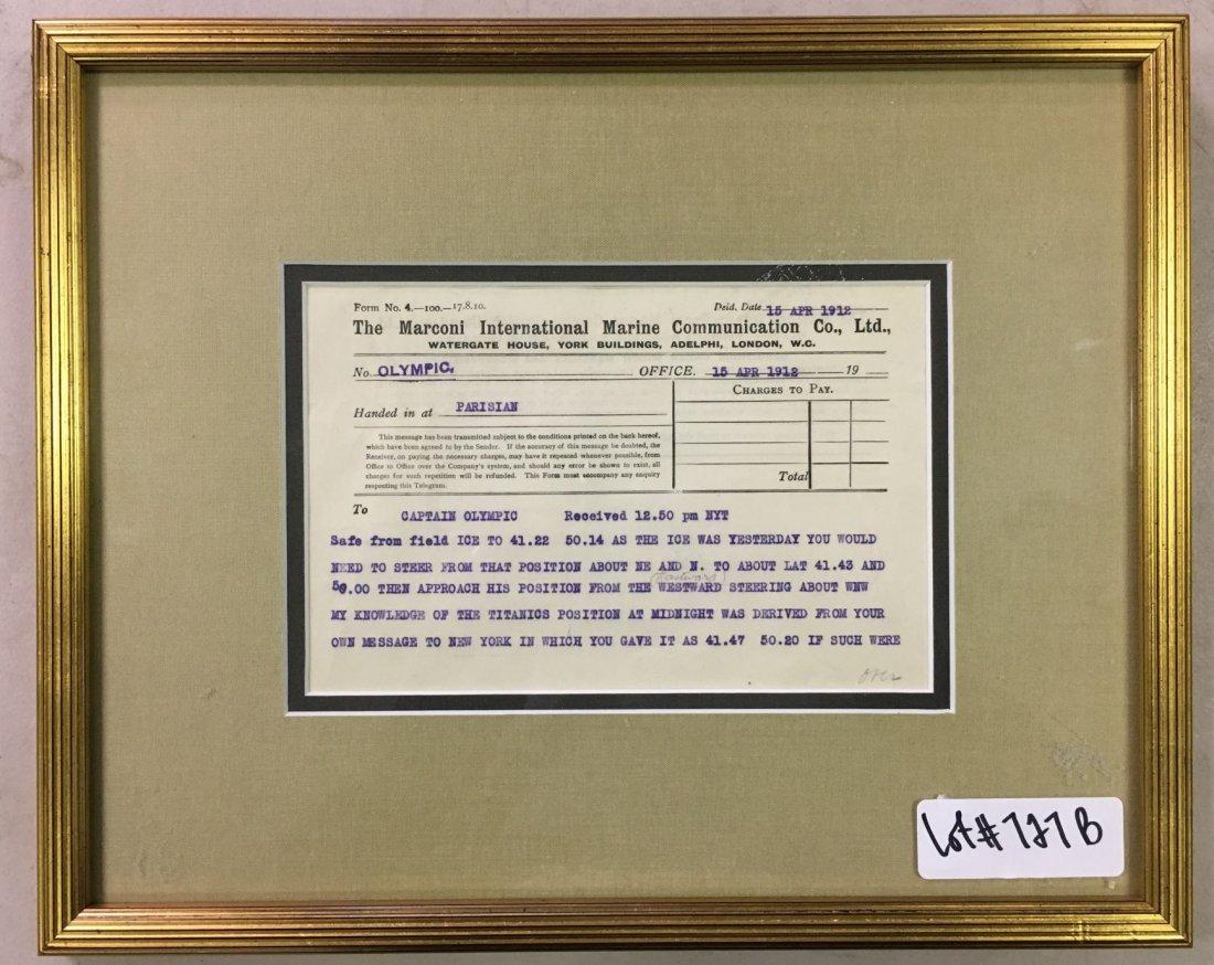 1912 Titanic Disaster Marconi Message