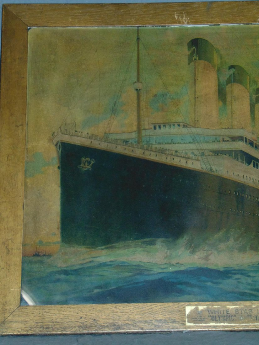 White Star Line Olympic, Color Lithograph. Titanic - 2