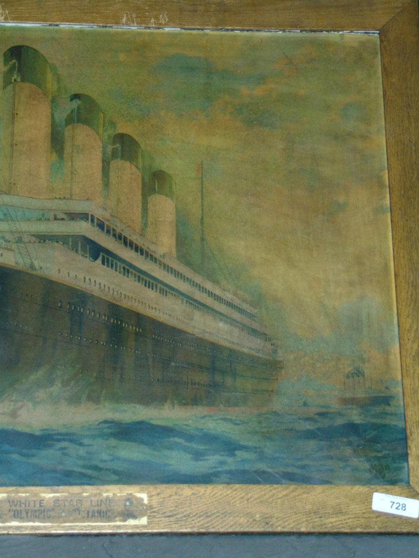 White Star Line Olympic, Color Lithograph. Titanic - 3