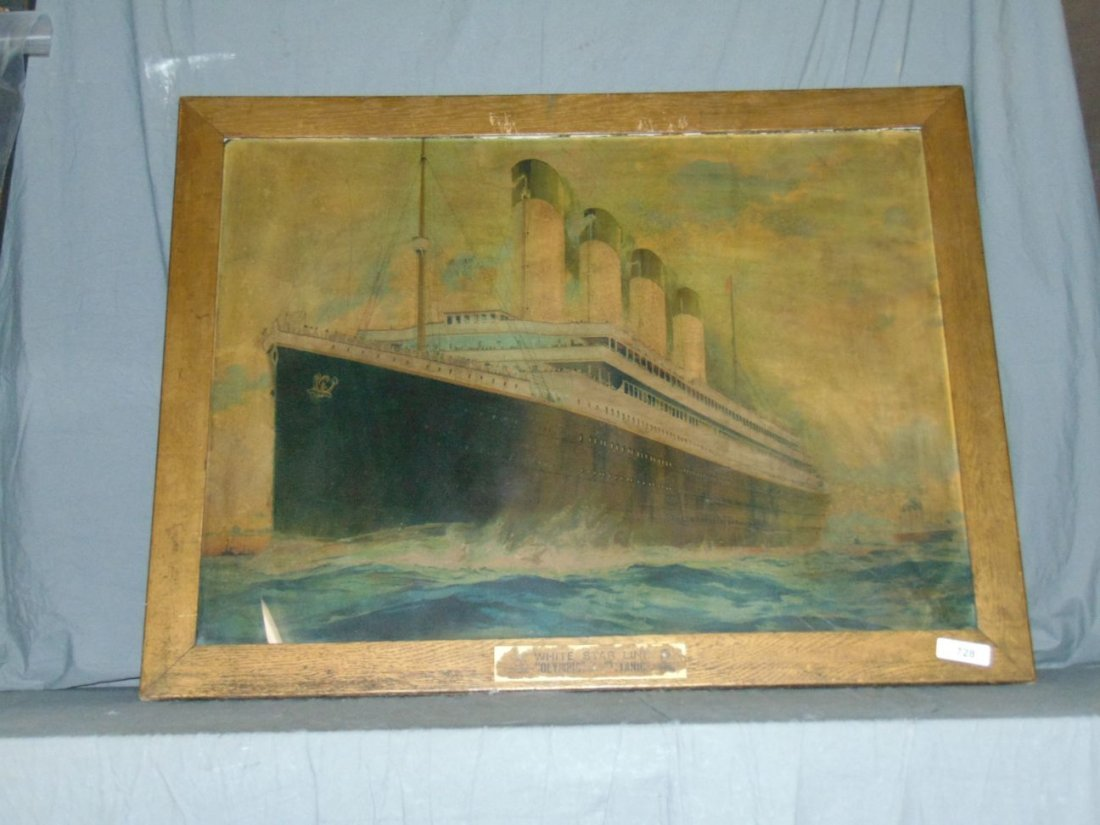 White Star Line Olympic, Color Lithograph. Titanic - 6