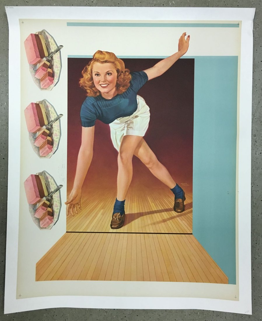 1947 Soda Fountain Bowler Press Poster