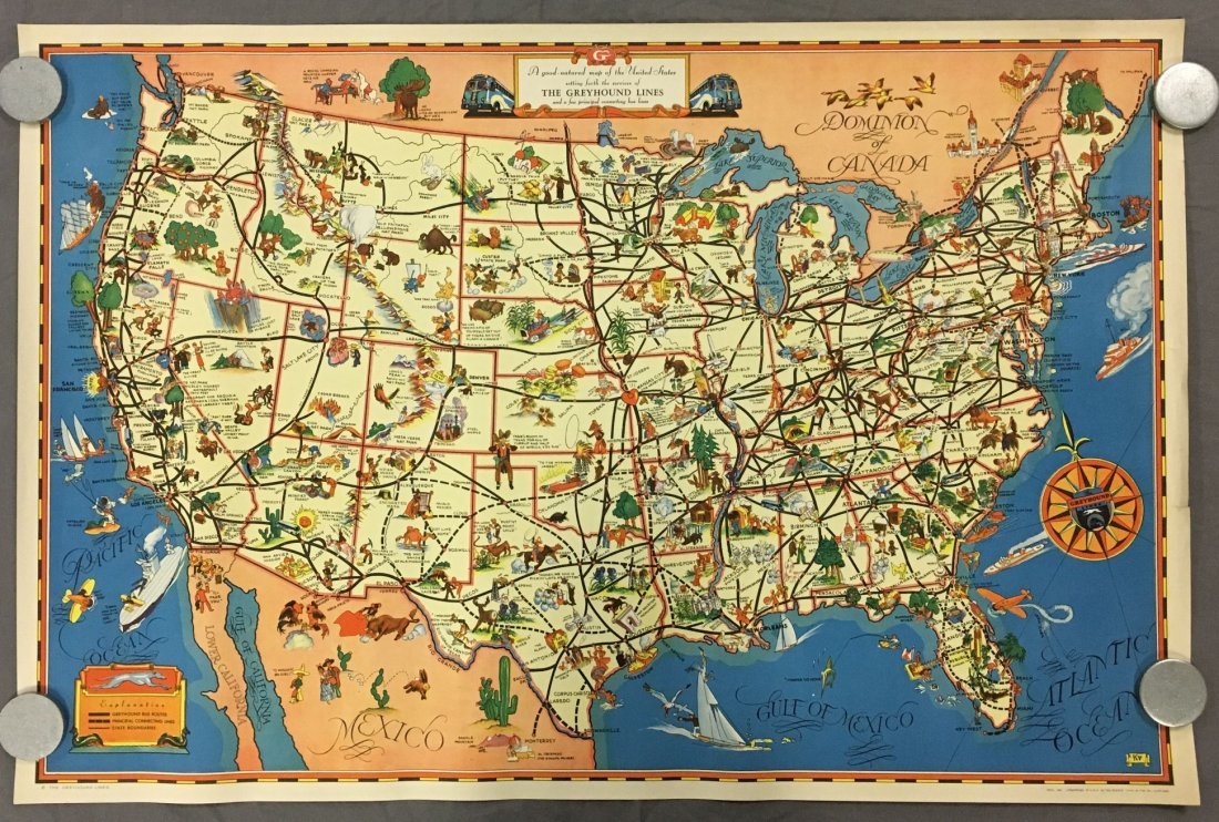Greyhound Lines Bus Route Map Poster, 1937