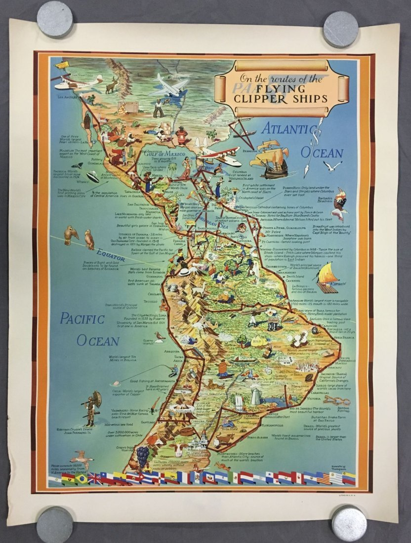 Pan Am Flying Clipper Ships Routes Poster