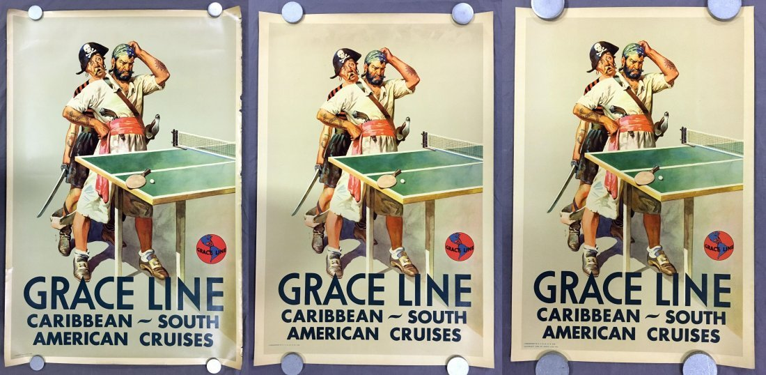 (3) Gracie Line Cruises Travel Posters