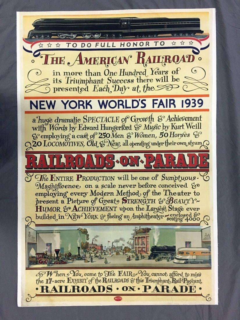 1939 NY World's Fair American Railroad Poster