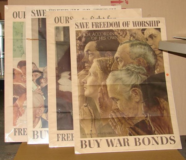 257: LOT OF FOUR NORMAN ROCKWELL WW2 POSTERS