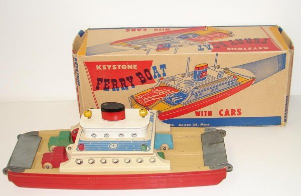 2024: VINTAGE BOXED KEYSTONE FERRY BOAT WITH CARS