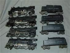 Lot of 4 Lionel Postwar Steam Engines & Tenders
