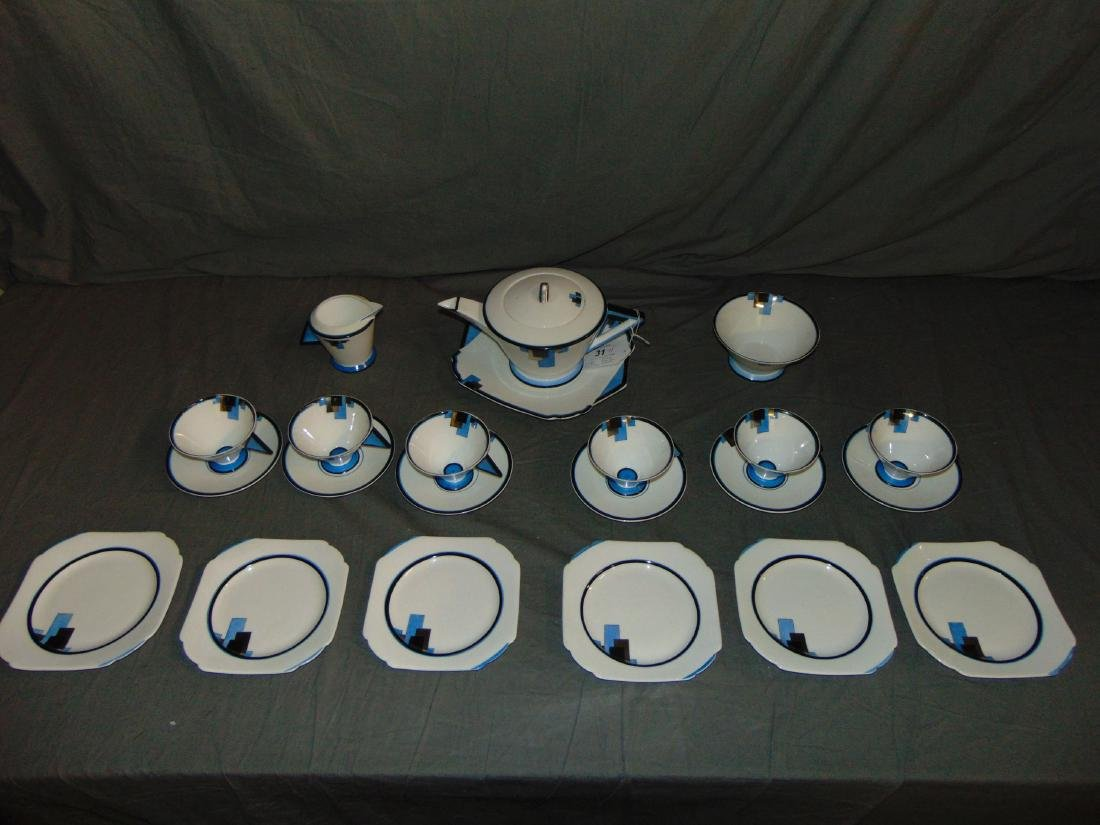 Shelley Tea Set . Early 20th Century Art Deco.