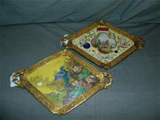 Oriental Hand Painted Plaques with Bronze Frames