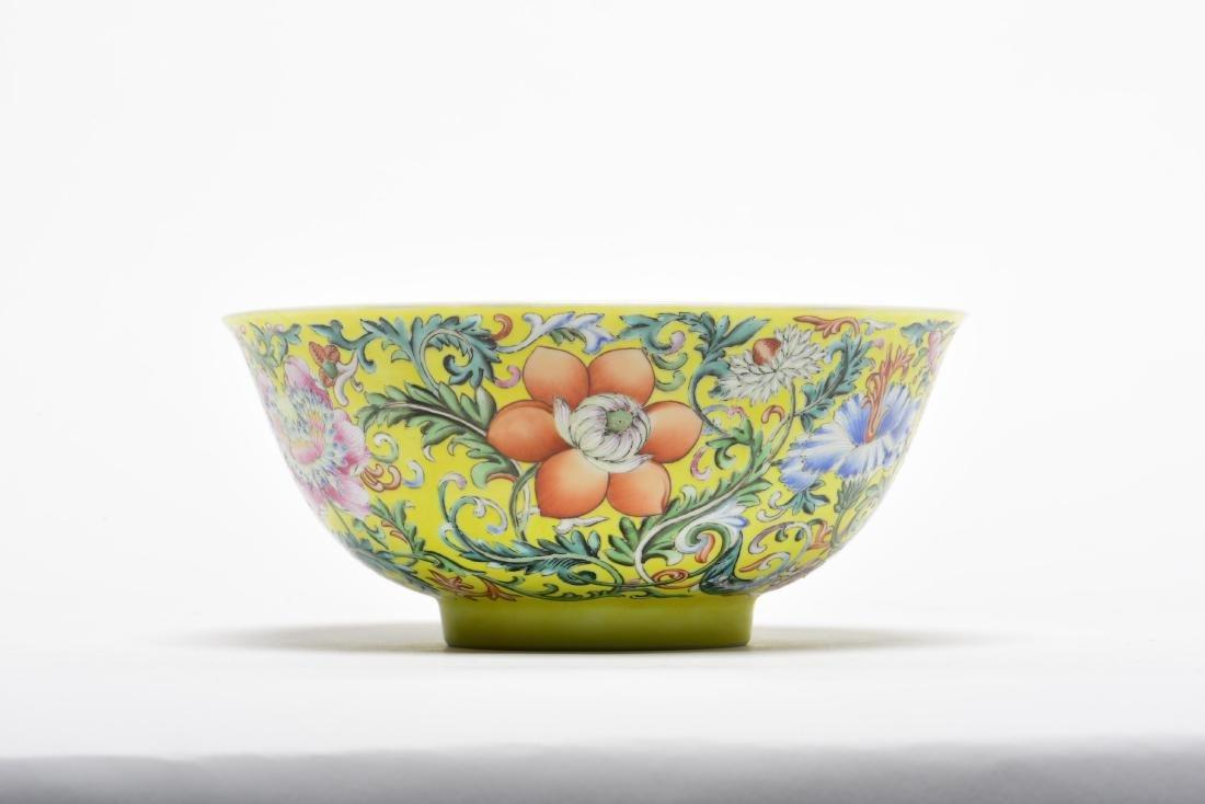 Yellow Ground Yangcai Lotus  Scroll Bowl