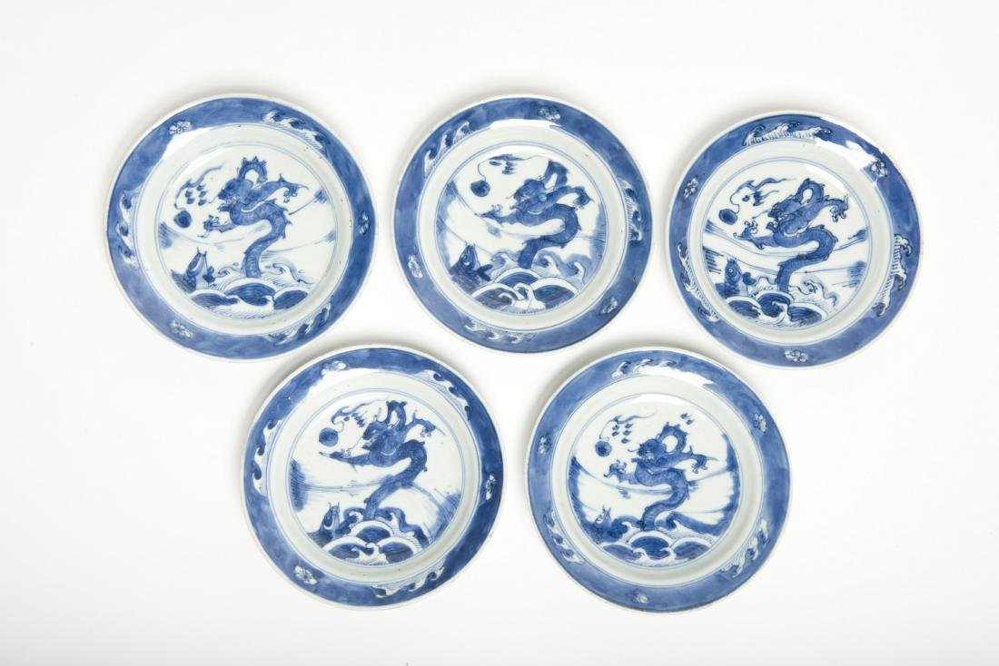 Five pieces of Blue and White Dragon Dishes