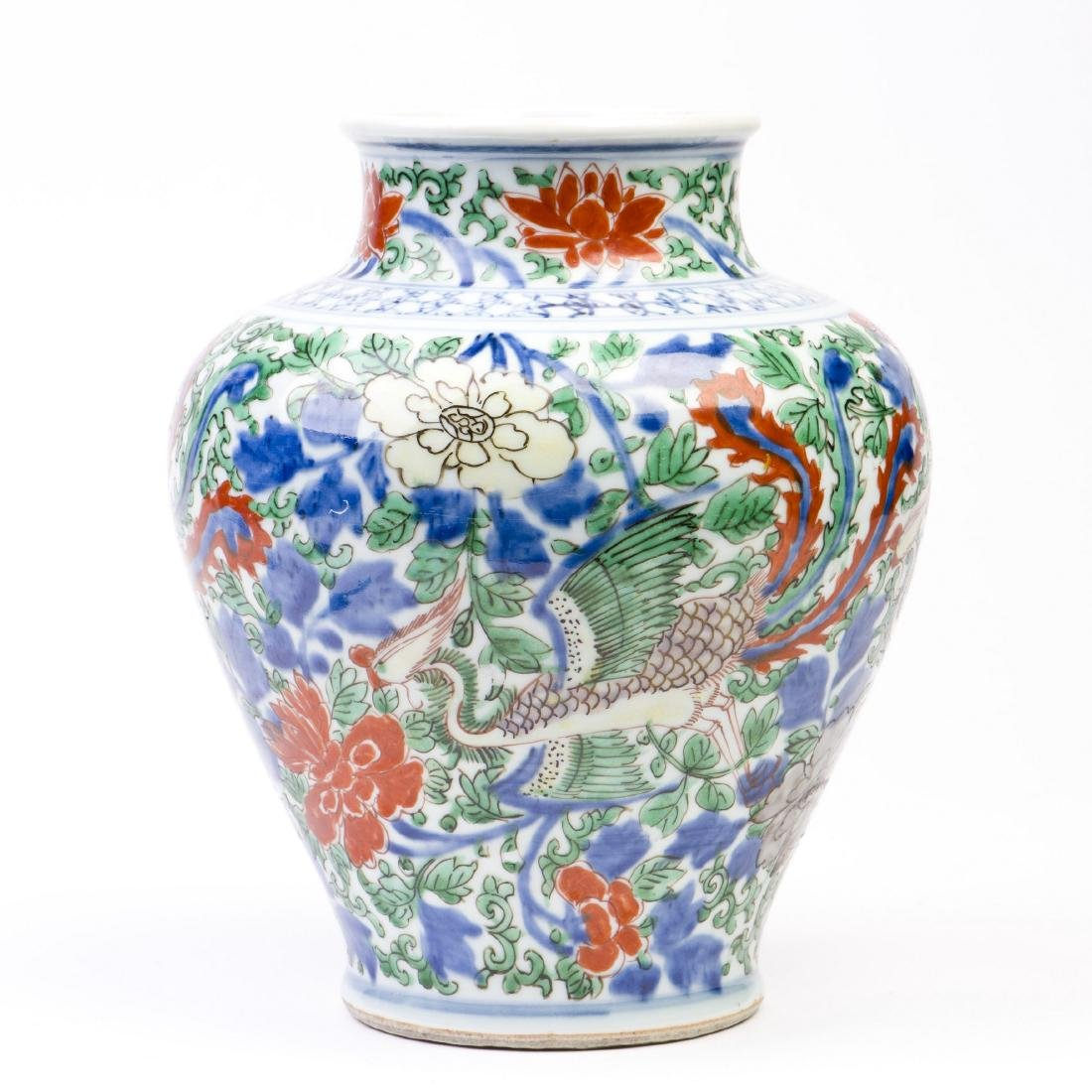 A Chinese Famille Verte Wucai Vase