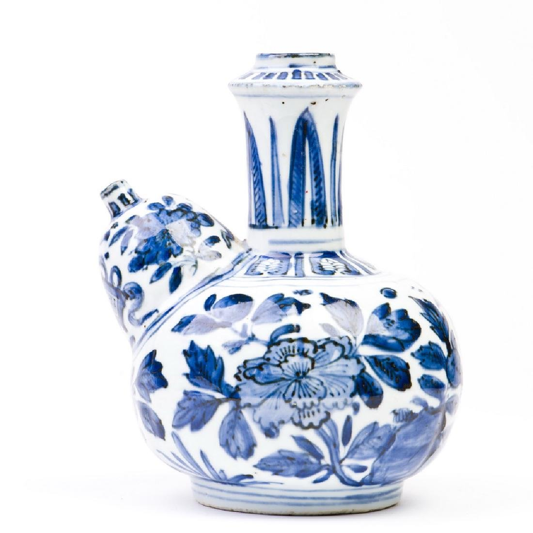 A Blue and White Peony Kendi