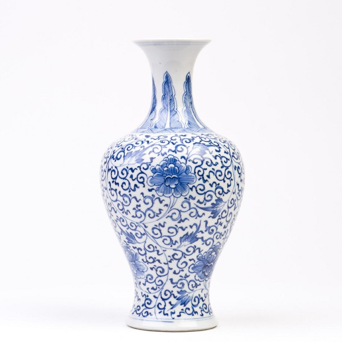 A Blue and White Lotus Baluster Vase