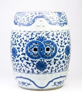 Chinese Blue and White Porcelain Pierced Barrel-shaped