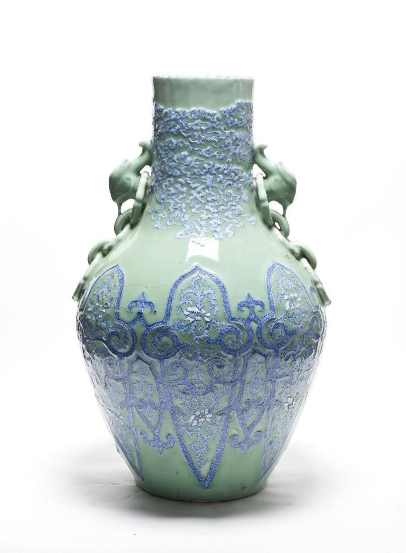 A Rare Dou Qing Glazed with Blue & White incised Vase