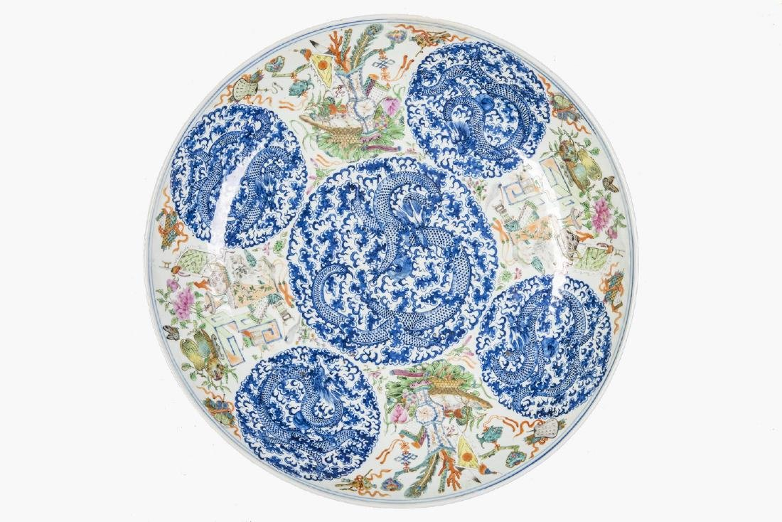 Famille Rose Blue and White Dragon medallions charger