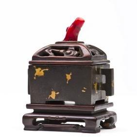 A Chinese Square Gold Splash Bronze Censer