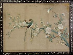 Chinese Silk Embroidered Panel, Hardwood Framed