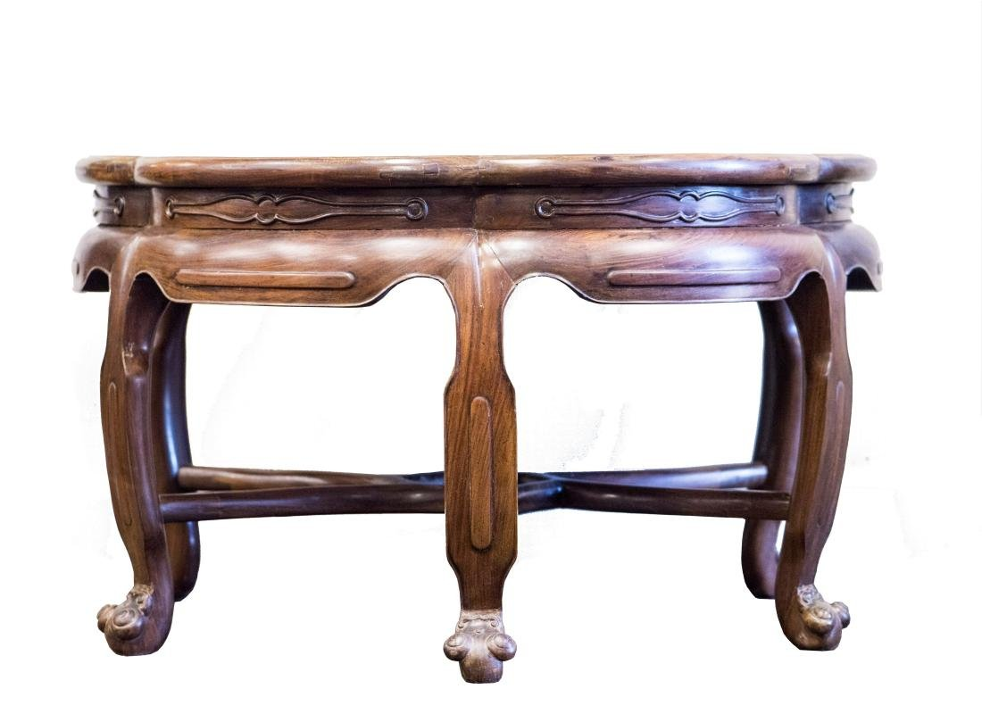 A mixed Hardwood and Burl wood Plum Low Table
